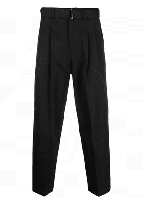 Attachment belted straight-leg cropped trousers - Black