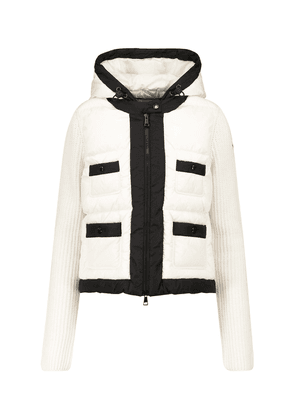 Ribbed-knit and quilted down jacket