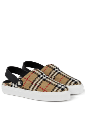 Checked slingback slippers