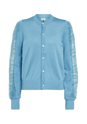 Tulle-trimmed silk cardigan