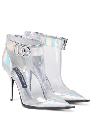 Leather-trimmed PVC ankle boots