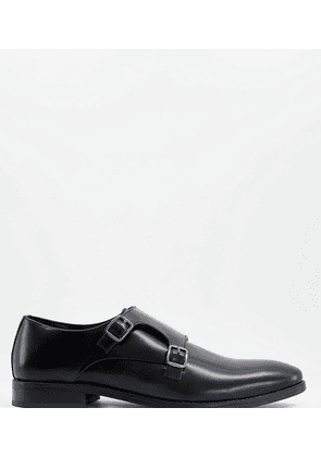 Dune wide fit Road Island monk shoes in black leather