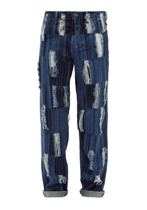 Charles Jeffrey Loverboy - Distressed Striped Relaxed-leg Jeans - Mens - Blue