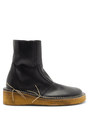 Acne Studios - Bura Topstitched Leather Boots - Womens - Black