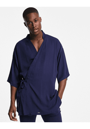 ASOS DESIGN co-ord short lightweight dressing gown with tie side in navy