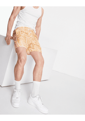 ASOS DESIGN swim shorts with abstract geo print in stone-Neutral
