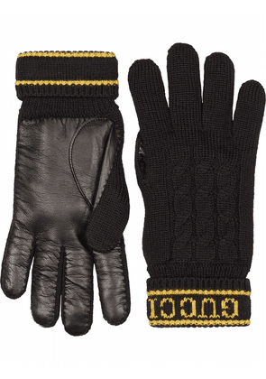 Gucci leather-panel wool-knit gloves - Black