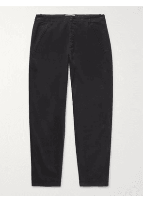 Folk - Assembly Tapered Pleated Cotton-Canvas Trousers - Men - Black - 3