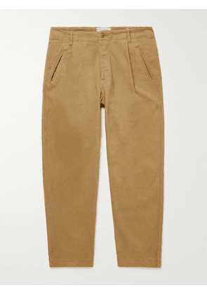 Folk - Assembly Tapered Pleated Cotton-Blend Trousers - Men - Neutrals - 1