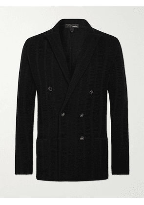 Lardini - Unstructured Double-Breasted Wool and Cashmere-Blend Blazer - Men - Black - S
