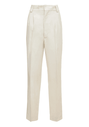Pleated Tapered Viscose Straight Pants