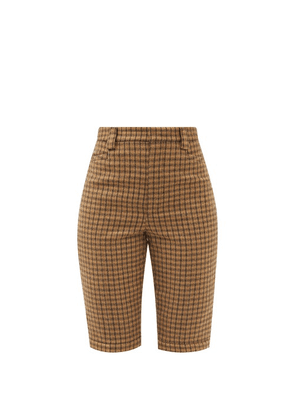 Saint Laurent - Buttoned-cuffs Checked Wool-twill Shorts - Womens - Camel
