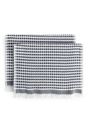 Fringed Waffle Guest Towels, Set of 2 - Blue