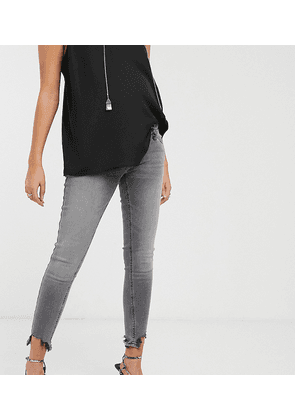 Topshop Maternity Jamie overbump skinny jeans with raw hem in grey