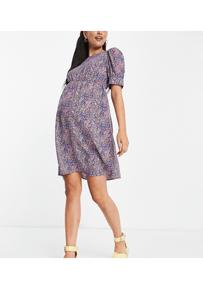 Mamalicious Maternity mini dress with puff sleeves in purple floral-Multi