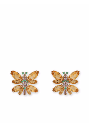 Dolce & Gabbana 18kt yellow gold Spring gemstone clip-on earrings
