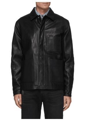 Leather Workwear Snap Button Jacket with Patch Pockets