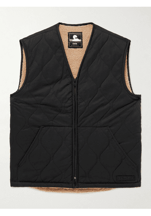 EDWIN - Fleece-Lined Padded Quilted Cotton-Blend Twill Gilet - Men - Black - S