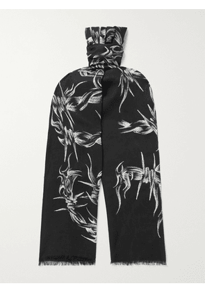 Givenchy - Fringed Printed Modal and Cashmere-Blend Scarf - Men - Black