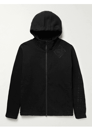Y-3 - Optimistic Illusions Embroidered Wool-Blend Jersey Zip-Up Hoodie - Men - Black - S