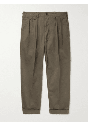 Beams Plus - Cropped Pleated Cotton-Blend Twill Trousers - Men - Green - M