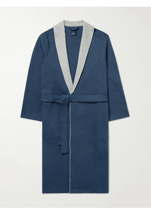 Hugo Boss - Logo-Embroidered Belted Quilted Cotton-Blend Robe - Men - Blue - S
