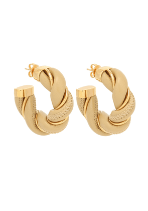 Gold-plating and leather hoop earrings