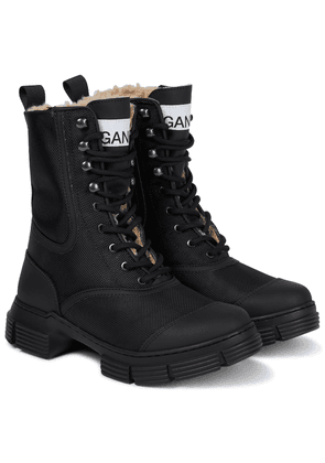 Faux shearling-lined combat boots