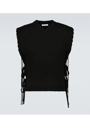 V-neck laced knitted wool vest