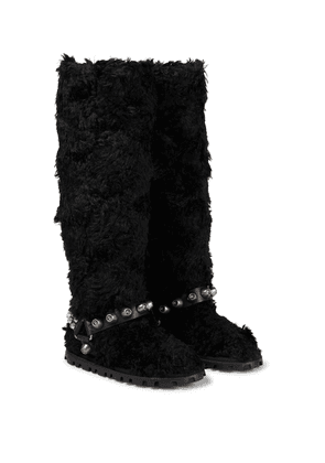 Faux shearling knee-high boots