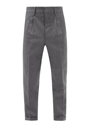 Ami - Cropped Wool-flannel Trousers - Mens - Grey