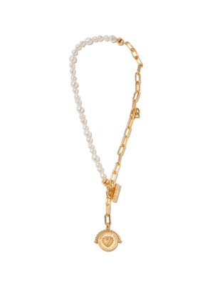 Dolce & Gabbana - Faux-pearl & Coin Chain Necklace - Womens - Gold