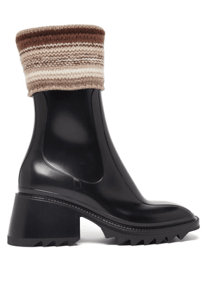 Chloé - Betty Knitted-cuff Rubber Ankle Boots - Womens - Black