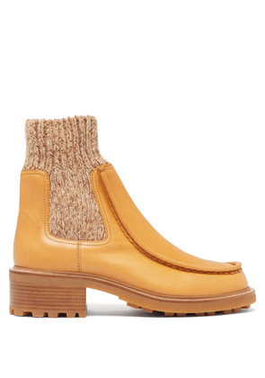 Chloé - Jamie Knitted-cuff Leather Chelsea Boots - Womens - Tan