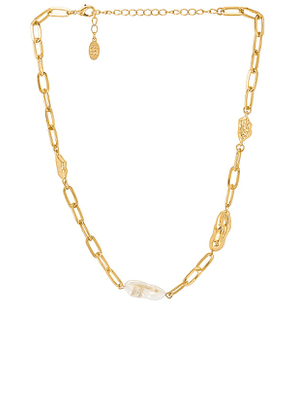8 Other Reasons Tropical Sunrise Lariat Necklace in Metallic Gold.