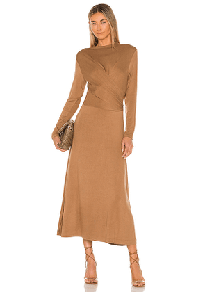 Vince Long Sleeve Draped Dress in Taupe. Size S, M, L.
