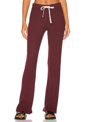 MONROW Brushed Rib Straight Sweat in Wine. Size S, M, L.