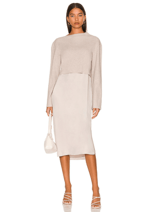 Theory Long Sleeve Layered Dress in Light Grey. Size S, M, L.