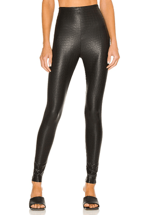 Commando Faux Leather Animal Legging in Navy. Size S, M, L.