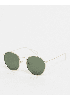 Weekday Explore Round Sunglasses in gold