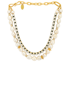 Lizzie Fortunato Crystal Lagoon Necklace in Metallic Gold.