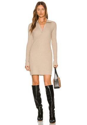 The Range Long Sleeve Polo Mini Dress in Taupe. Size M, L.