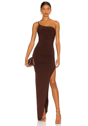 Nookie Aria One Shoulder Gown in Chocolate. Size S, M, L, XL.