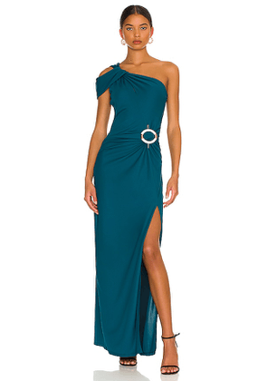 NICHOLAS Cory Asymmetric Twist Gown with Ring in Teal. Size 2, 4, 6, 8.