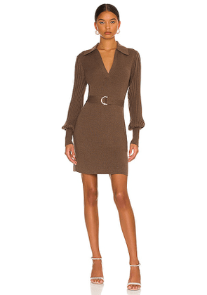 NICHOLAS Adara Knit V-Neck Long Sleeve Mini Dress with Collar in Brown. Size S, M, L.