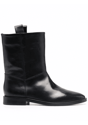 Closed leather ankle boots - Black