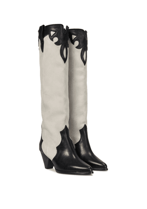 Litz leather knee-high boots