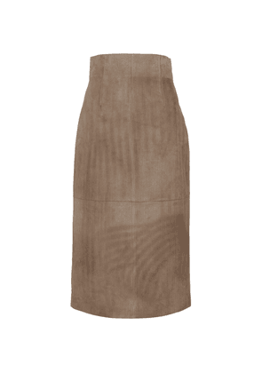High-rise ribbed suede midi skirt