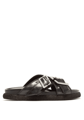 Acne Studios - Buckled Leather Flat Sandals - Womens - Grey