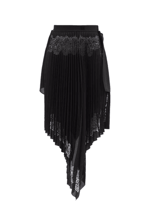 Givenchy - Laser-perforated Asymmetric Pleated Chiffon Skirt - Womens - Black